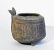 Vietnam: Tripod vessel with handle, incised pattern encrusted with red pigment, Dong Son Culture, c.500-100 BCE